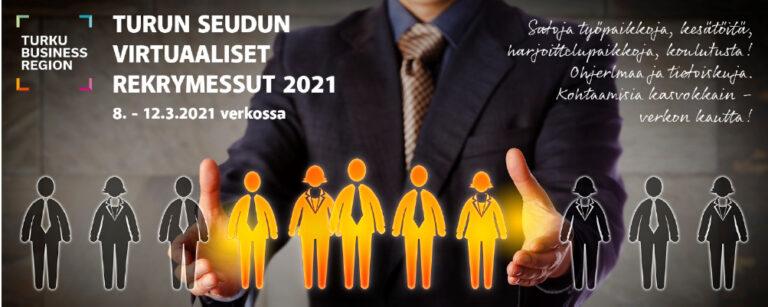 Mainosbanneri Turun seudun virtuaalisista rekrymessuista 2021.